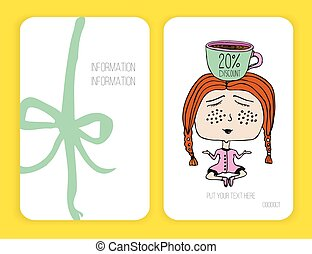 Coffee discount card. template for your design. Girl and cup of . Meditation. Doodle.