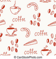 Coffee doodle funny seamless pattern