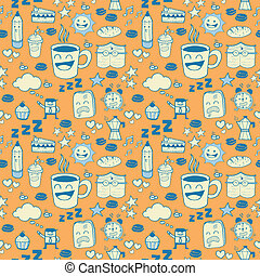 Coffee Doodle Seamless Pattern