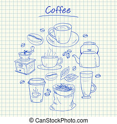 Coffee doodles - squared paper - Illustration of coffee ink...