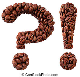 coffee - question and exclamation marks from coffee beans....