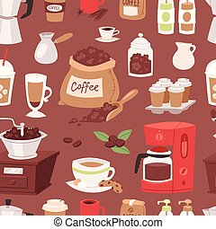 Coffee drink cartoon pot devices and morning beverage...