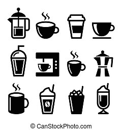 Coffee drinks, coffee makers icons