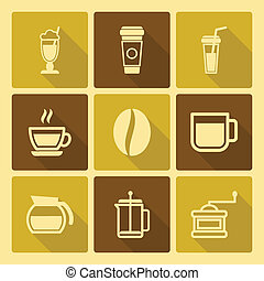 Coffee Drinks Icons With Long Shadow
