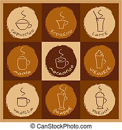 Coffee drinks - Vector illustration of different coffee...