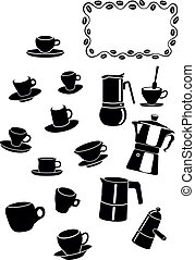 coffee elements - coffee cups and coffee maker set