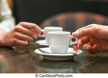 coffee., emberek, két, closeup, hatalom csésze