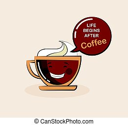 coffee emoji cup with funny quote. vector illustration