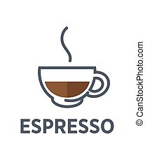Coffee espresso drink steam cup vector flat cafe icon