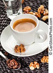 Coffee espresso, nutty flavor