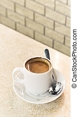 coffee espresso on cafe table