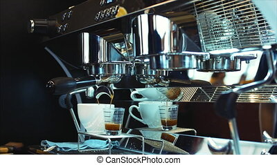 Coffee espresso preparation. Stock footage.