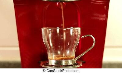 Coffee espresso preparation - closeup of coffee espresso...