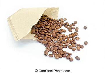 coffee filter with coffee beans for decoration