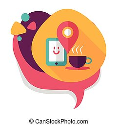 """coffee flat icon with long shadow, eps10, When you go to coffee shop, you can check into places and click the """"like"""" button on social network."""