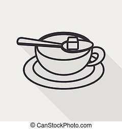 coffee flat icon with long shadow,eps10