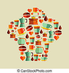 Coffee flat icons chef hat set