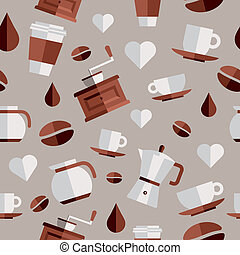 Coffee flat icons illustration