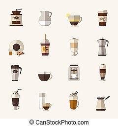 Coffee flat icons