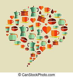 Coffee flat icons social media bubble