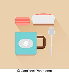 Coffee flat modern icons with shadow