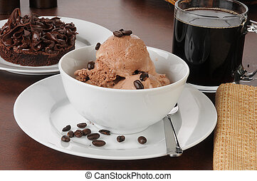 Coffee flavored ice cream