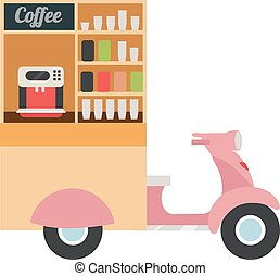 Coffee food truck flat vector illustration. Moped based takeaway coffee point. Movable city cafe. Street food vehicle. Mobile scooter hot drinks bar isolated on white background