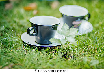 coffee for two in cafe outdoors