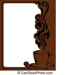 Coffee frame - Vertical frame with a stylized a cup of...