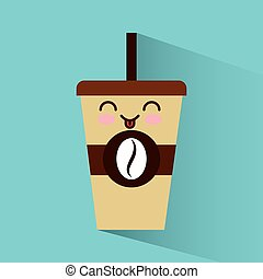 coffee glass character icon