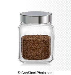 Coffee glass jar icon. Instant coffee granules realistic package