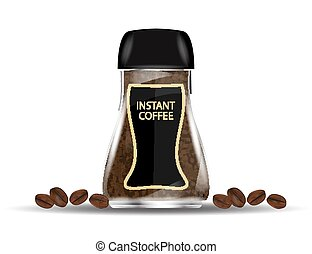 Coffee Glass Jar with Instant Coffee Granules and Coffee Beans Isolated on White Background.