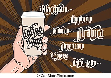 Coffee gothic Labels - Coffee Labels Set. Paper Coffee Cup...