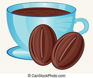 Coffee grain and cup coffee