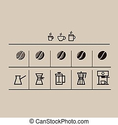 coffee grain and making coffee icons set