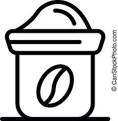 Coffee grain pot icon, outline style