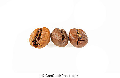 Coffee grains on a white background