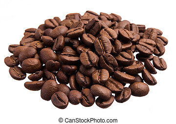 Coffee grains. Pile of grains, isolated white background.