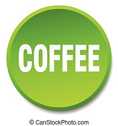 coffee green round flat isolated push button