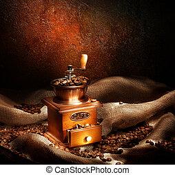 Coffee Grinder And Beans. Vintage Styled