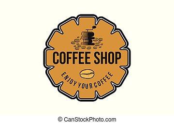 Coffee Grinder, Vintage Badges Logo Designs Inspiration, Vector Illustration