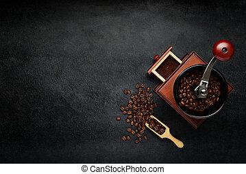 Coffee Grinder with Beans and Copy Space