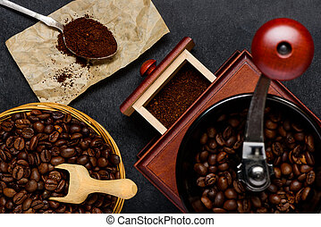 Coffee Grinder with Brown Roasted Coffee Beans
