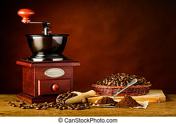 Coffee Grinder with Roasted Beans and Ground