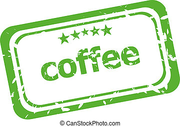 coffee grunge rubber stamp isolated on white background