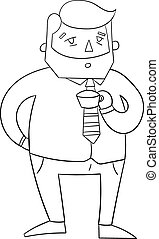 Coffee guy boss black and white vector