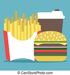Coffee, hamburger, french fries