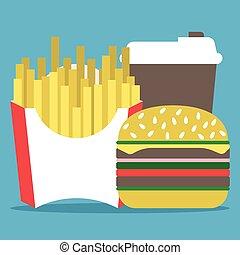 Coffee, hamburger, french fries