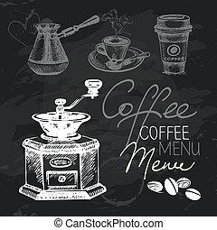 Coffee hand drawn chalkboard design set. Black chalk texture