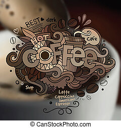 Coffee hand lettering and doodles elements